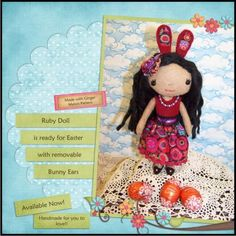 Little dark haired Ginger melon Doll, Made with Ginger Melon Pattern
