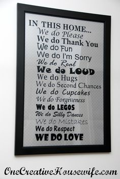 One Creative Housewife: In This Home... {DIY Wall Art} my family to a tee.