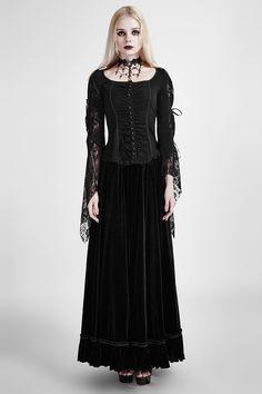 Y-683 gothic black short coat,knitted rose lace mesh fabric,big flare sleeve,