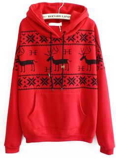 Sudadera con capucha ciervo negro manga larga-Rojo EUR€20.51