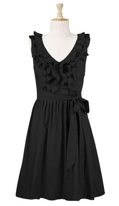 Ruffle front poplin dress