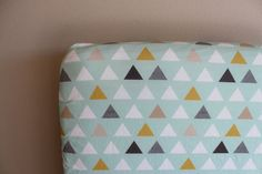 Items similar to Fitted Crib Sheet or Changing Pad Cover - Modern Geometric Triangles in Mint, Mustard, and Grey on Etsy Mattress Covers, Crib Mattress, Crib Sheets, Portable Crib, Baby Boy Blankets, Changing Pad, Newborn Gifts, Gifts For Boys, Triangles