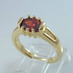 Ladies Garnet CZ 18K Yellow Gold Overlay Ring~Size 5 1/2-Free Gift Box