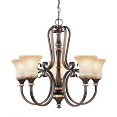 Hampton Bay Reims 5-Light Berre Walnut Chandelier-17265 - The Home Depot