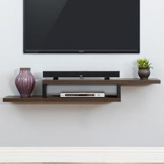 """Martin Home Furnishings Ascend 60"""" Asymmetrical Wall Mounted TV Component Shelf (comes in 70"""" too)"""