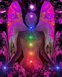 Chakra Healing, Angel Art, Reiki Energy, Rainbow Wall Decor, Meditation Art, Yoga Room, Psychedelic Art