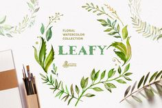 Leafy. Watercolor floral collection by OctopusArtis on @creativemarket