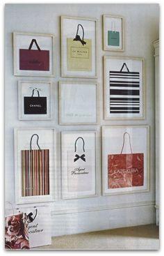 What a cute idea!  Frame designer shopping bags
