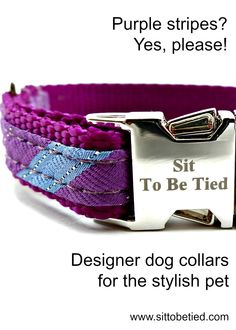 Purple dog collar. Limited-edition striped dog collar in purple and blue.