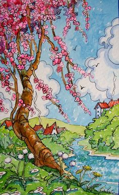"""""""Cherry Tree Spring Storybook Cottage Series"""" by Alida Akers Storybook Cottage, Cottage Art, Children's Book Illustration, Illustrations, Naive Art, Cherry Tree, Whimsical Art, Clipart, Painting & Drawing"""