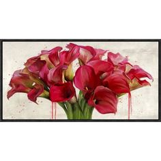 """Global Gallery 'Calla Abstraction' by Alex Vinci Framed Painting Print on Canvas Size: 12"""" H x 24"""" W x 1.5"""" D"""