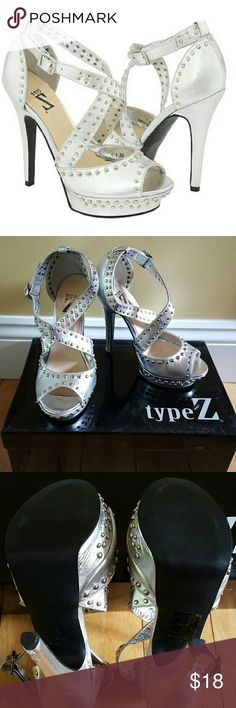 """Type Z silver studded dress platform sandal sz 5.5 Type Z silver studded dress platform sandal.  Criss cross strap.  Box included. Worn once. Slight """"ripping"""" at bottom of heel,  see last picture.  Otherwise excellent condition.  Sz 5.5   5 inch heel with 1 inch platform Type Z Shoes Platforms"""