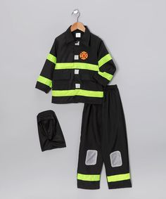 Black Fire Fighter Dress-Up Set - Toddler & Kids