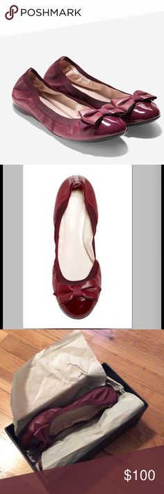 Cole Hann Burgundy flats Worn once. Great shoes but I have so many other colors and I'm trying to down size my shoe closet. Cole Haan Shoes Flats & Loafers