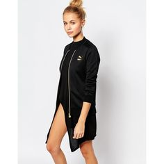 Puma Gold Collection Zip Front Bomber Jacket With Small Metallic Logo ($77) ❤ liked on Polyvore featuring outerwear, jackets, black, bomber jacket, puma jacket, black slim jacket, black jacket and black bomber jacket