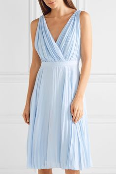 Prada - Plissé Crepe De Chine Dress - Sky blue - IT40