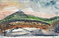 """""""Taos Mountain,"""" Emil Bisttram, watercolor on paper, 11 1/8 x 17 1/2"""", private collection."""