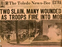 """May 23, 1934:  A five-day battle begins between striking Toledo Electric Auto-Lite workers and the Ohio National Guard, who had been sent in to break the strike.  """"The Battle of Toledo"""" left two workers dead and more than 200 injured.  The strike ended in early June when the company agreed to the workers' wage and union recognition demands."""