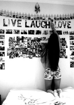 cute idea for all those pictures stacked up in a box | I dont really like the words but i like the collage