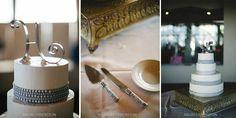 Elegant four tier silver and white wedding cake.  Tucson Wedding by Siegel Thurston Photography.