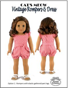 Forever 18 Inches Cat's Meow Vintage Rompers & Dress Doll Clothes Pattern 18 inch American Girl Dolls | Pixie Faire