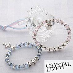 Personalized Baby's 1st Birthstone Bracelet w/cross...Baptism Gift
