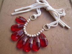 Statement Bib Necklace with Red Teardrops Golden by sweetclover05, $28.00