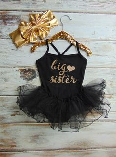 Gold Glitter Big Sister Black Leotard with Tutu - Spaghetti Strap One Piece Leotard Dress - Big Sister Pregnancy Announcement - Sisters