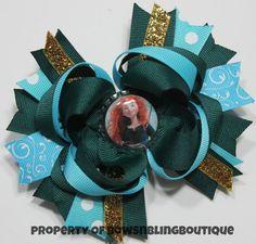 Merida Hair Bow Blue Hairbow Brave Disney Princess Boutique Hairbows Bow Funky hair bow Disney bow