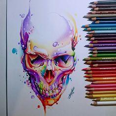 Cool Art Drawings, Art Sketches, Skull Drawings, La Muerte Tattoo, Tatoo Geek, Widder Tattoo, Totenkopf Tattoo, Skeleton Art, Skull Tattoo Design