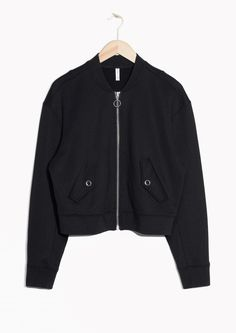 Other Stories image 1 of Boxy Bomber Sweater in Black