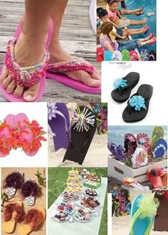 Free flip flop crafts ideas for summer crochet, beading, kids crafts and Summer Crafts For Kids, Summer Kids, Craft Activities For Kids, Summer Activities, Camping Crafts, Fun Crafts, Diy Projects To Try, Craft Projects, Craft Ideas
