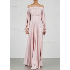Alexander McQueen Blush Off-the-shoulder Jersey Gown - Size 12 ($3,010) ❤ liked on Polyvore featuring dresses, gowns, off shoulder evening dress, jersey gown, jersey dress, sleeve evening dress and off the shoulder ball gown
