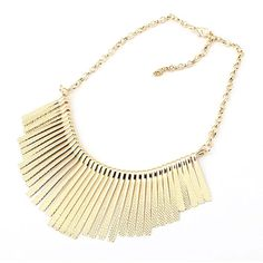 Sunshine Fashion jewelry Collar Necklace Metal Multilayer Chain Tassel Choker Bib False Gold silver necklace for lady Women