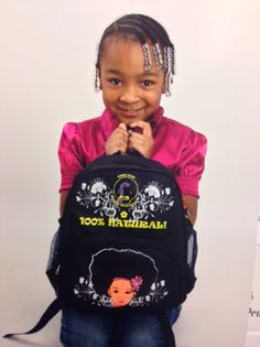 Visit www.curls-aunaturel.com and get this adorable backpacks. Available in red and black for 2-5, 6-10 and 11+ years olds.  These bags stand for the natural hair community. Let's give our girls something that represents them and the natural hair society