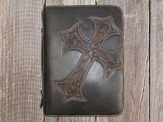 Stunning western leather bible covers perfect for protecting your bible along with giving it a western style. Leather Bible Cover, Bible Cases, Custom Leather, Distressed Leather, Western Cowboy, Leather Working, Leather Craft, Celtic, Westerns