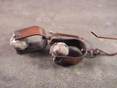 Copper jewelry-Rustic copper earrings agate beadwork earrings by BirdandBeed on Etsy  http://www.etsy.com/shop/BirdandBeed?ref=si_shop