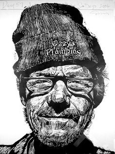 """Dave 57"" print by Neil Shigley, (1955-) http://neilshigley.com/ Tags: Linocut, Cut, Print, Linoleum, Lino, Carving, Block, Woodcut, Helen Elstone, Profile, Portrait, Face, Man, San Diego, Large-Scale Printing, The Invisible People Series."