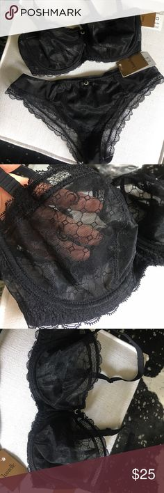 Chantelle bra and panty set Black sheer patterned bra and matching panty. Brand new with tags. Panties size M Chantelle Intimates & Sleepwear