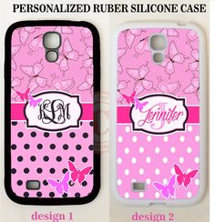 PINK BUTTERFLY BLACK POLKA DOT MONOGRAM CASE For Samsung Galaxy S7 S6 NOTE 5 4 3 #UnbrandedGeneric