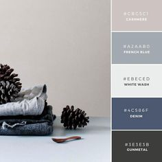 bedroom colors - Build Your Brand: 20 Unique and Memorable Color Palettes to Inspire You – Design School Palettes Color, Blue Colour Palette, Colour Schemes, Color Combos, Color Schemes With Gray, Color Blue, Paint Combinations, House Color Combinations, Grey Living Room Ideas Colour Palettes