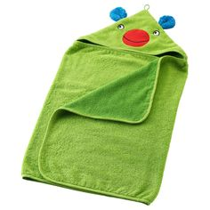 BARNSLIG Baby towel with hood - IKEA larger than most baby towels. Won't outgrow for a long time.