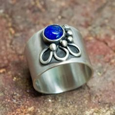Sterling silver ring, sterling silver wide band ring, Rings for women, Lapis lazouli ring, Bezel set ring, #SterlingSilverJewellery