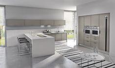 Kitchen:Clean Modern Minimalist Kitchen Room Design Island Floor Lamp Striped Carpet Sink Bay Window Venetian Blind Wall Cabinet Lighting Co...