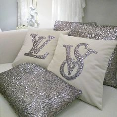 Set Of 2 Initial Pillow Covers, Silver Sequins & White Velvet Pillow, Glitter Letter Cushion, Seat P Monogram Pillows, Cute Pillows, Bed Pillows, Pillow Room, Glam Bedroom, Bedroom Decor, Throw Pillow Covers, Pillow Cases, Cushion Covers