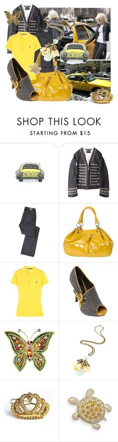 """""""When a rural little girl drops into the big city life. *4"""" by kingstreetfashionista ❤ liked on Polyvore featuring Judith Jack, Paige Denim, Ralph Lauren Blue Label, TAXI, Aris Geldis, Swarovski, polo ralph lauren, mytheresa, jacket and yellow"""