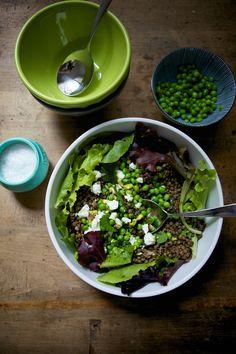 Lentil and Shell Pea Salad - a lovely little salad recipe from La Buena Vida - fresh peas, sheep's milk feta, lentils, and pistachios.