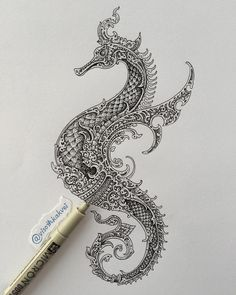 Intricate and Ornate Black and White Drawings. By Visoth Kakvei. Deviantart Drawings, Petit Tattoo, Casual Art, Thailand Art, Thai Art, Black And White Drawing, Dragon Art, Ancient Art, Ink Art
