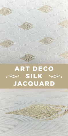 White and Metallic Gold Silk and Cotton Jacquard
