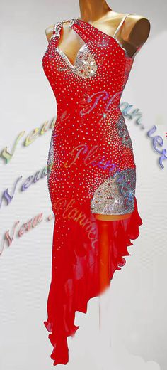 Women L3117 Ballroom swing Latin quick step Rhythm Rumba US 6 Dance Dress red #seahunter